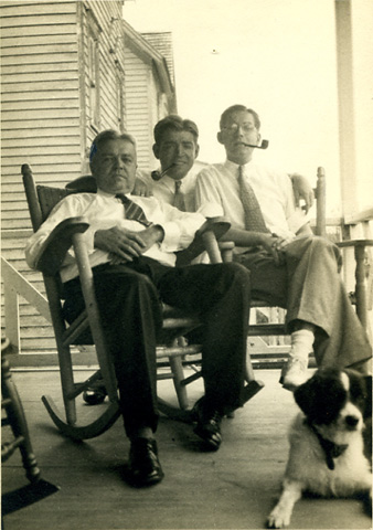 Granddaddy, Uncle Bob, Daddy and their dog Tippy relaxing on the porch at our family home in Sea Isle City, N.J., 1930s.