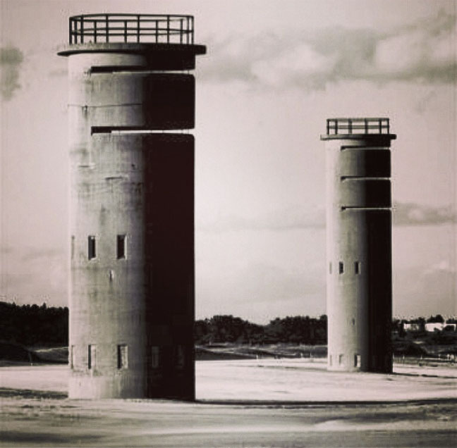 World War II Observation Towers on the Delaware Bay. From these we watched for German submarines coming up the United States East Coast, from the Atlantic Ocean, up the bay to the chemical plants and refineries lining the Delaware River from Wilmington, Del., to Philadelphia, Pa.