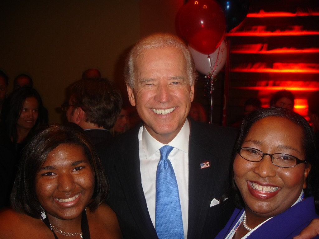 Daughter Victoria Lucas, left, and Quincy Lucas, right, with V.P. Joe Biden