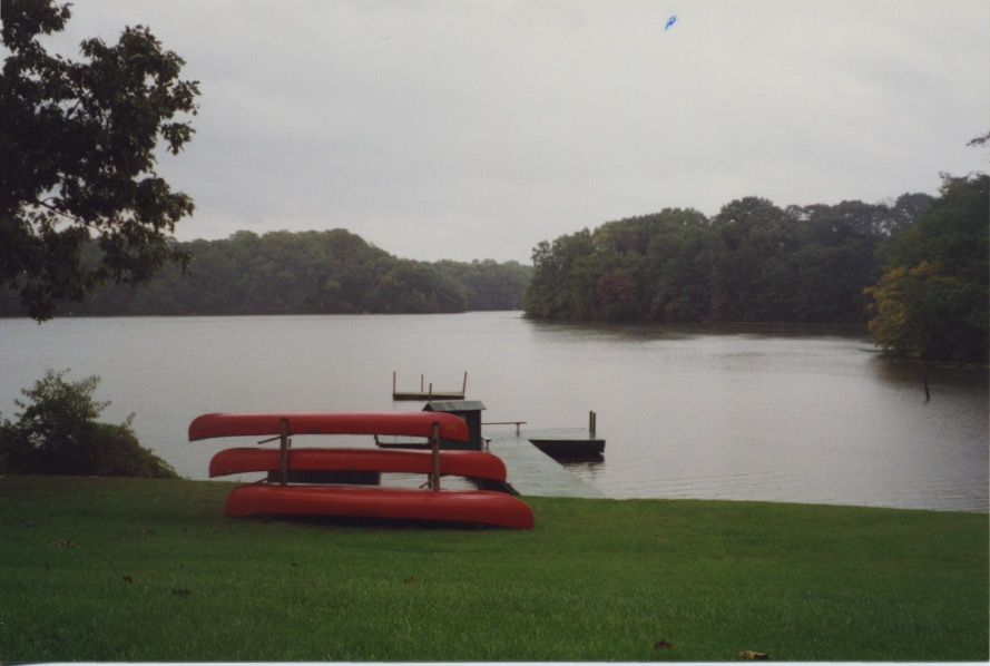 Red Canoes & T-Dock, on Noxontown Pond