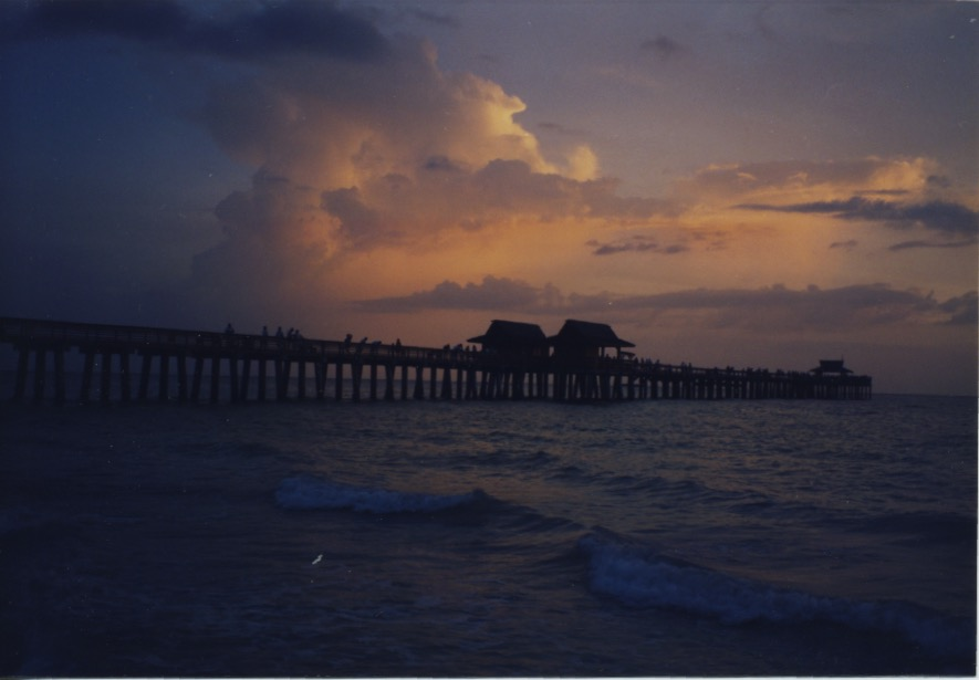 Naples Pier peach clouds