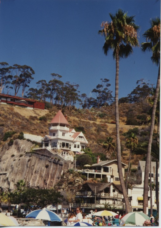 Wrigley Mansion. The hillside beneath is shored up.
